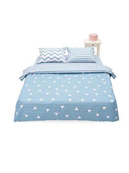 Lenjerie de pat pentru 2 persoane Heinner Home, bumbac, 4 piese, model geometric, HR-KGBED144-PLY, Multicolor de la Heinner