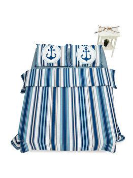 Lenjerie de pat pentru 2 persoane Heinner Home, bumbac, 4 piese, model marin, HR-KGBED144-NVY, Multicolor de la Heinner