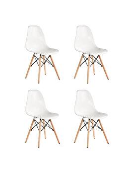 Set 4 scaune Truly Heinner Home, sezut plastic, picioare lemn, HR-SCHRTRLY-WHT, Alb de la Heinner