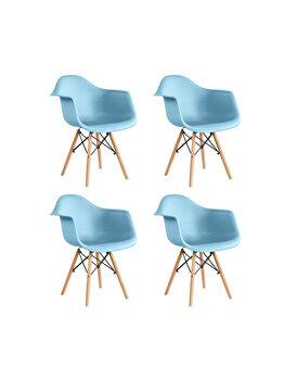 Set 4 scaune Cosy Heinner Home, sezut plastic, picioare lemn, HR-SCHRCOSY-BLU, Albastru de la Heinner
