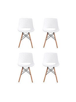 Set 4 scaune Fizzy Heinner Home, sezut din plastic, picioare din lemn, HR-SCHRFZY-WHT, Alb de la Heinner