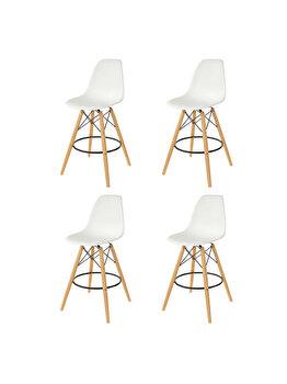Set 4 scaune bar Bitsy Heinner Home, piele ecologica, picioare lemn, HR-SCHRBTSY-WHT, Alb de la Heinner