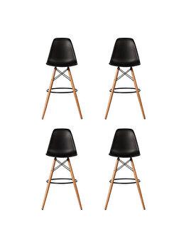 Set 4 scaune bar Bitsy Heinner Home, piele ecologica, picioare lemn, HR-SCHRBTSY-BLK, Negru de la Heinner