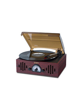 Pick-up cu radio si AUX, ION Audio, Bluethoot, semiautomat, 3 viteze, TRIO LP, Maro de la ION Audio