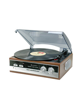 Pick-up retro cu radio, Soundmaster, semiautomat, 3 viteze, 50 dB, PL186H, Maro de la Soundmaster