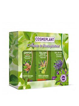 """Set nr.1 Cosmeplant (Sampon Cosmeplant """"Frunze de nuc""""250 ml+Balsam Cosmeplant toate tip.de par 250 ml+Gel- dus Cosmeplant """"Lavanda"""" 250 ml) de la Viorica"""