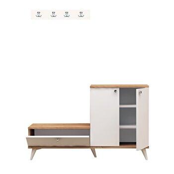 Set mobilier hol, Mod Design, 120 x 30 x 76 cm, pal melaminat, 811MDD4110, Alb/Maro de la Mod Design