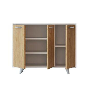 Comoda, Mod Design, 100 x 35 x 82 cm, pal melaminat, 811MDD4107, Alb/Maro de la Mod Design