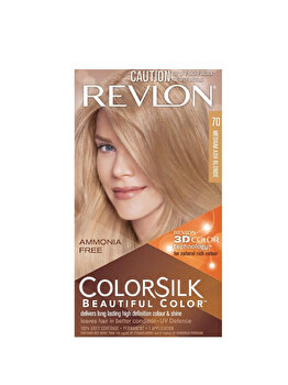 Vopsea de par ColorSilk, 70 Medium Ash Blonde, 100 ml de la Revlon