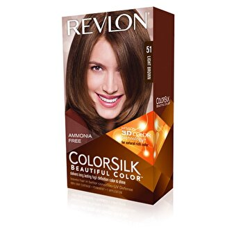 Vopsea de par ColorSilk, 51 Light Brown, 100 ml de la Revlon