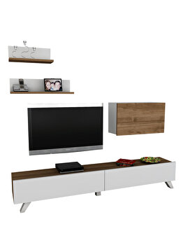 Comoda TV cu rafturi, Wooden Art, Caterina White Walnut, 180×32.6×29.5 cm de la Wooden Art