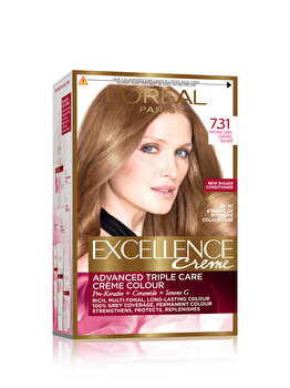 Vopsea de par permanenta cu amoniac L Oreal Paris Excellence, 7.31 Blond Caramel, 192 ml de la L Oreal Excellence