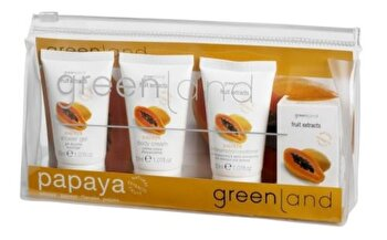 Set ingrijire corp cu papaya, Greenland (Crema de corp, 30 ml + Gel de dus, 30 ml + Sampon si balsam de par, 30 ml + Sapun solid, 30 g) de la Greenland