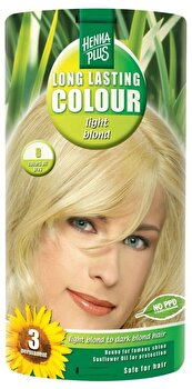 Vopsea par, Long Lasting Colour, Light Blond 8, 100 ml de la Hennaplus
