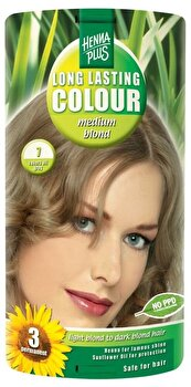 Vopsea par, Long Lasting Colour, Medium Blond 7, 100 ml de la Hennaplus