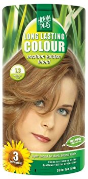 Vopsea par, Long Lasting Colour, Medium Golden Blond 7.3, 100 ml de la Hennaplus