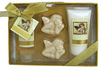Set cadou pentru corp, Classic Angel (gel de dus 100 ml, lotiune de corp 100 ml, 2 sapunele decorative a 50 g) de la Village Cosmetics