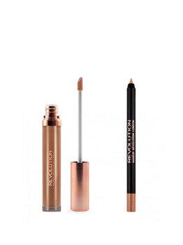 Set de buze stralucitor Luxe Kits: Creion de buze, 1 g + Luciu de buze, 5.5 ml, Opulence de la Makeup Revolution London