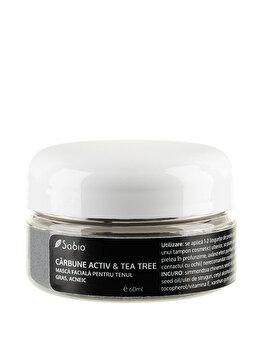 Masca faciala pentru ten gras si acneic – Carbune Activ si Tea-Tree, 60 ml de la Sabio
