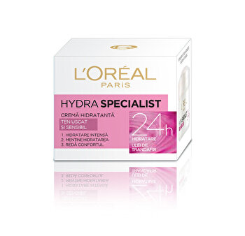Crema hidratanta pentru fata L'Oreal Paris Hydra Specialist pentru tenul uscat si sensibil 50 ml de la L Oreal Paris