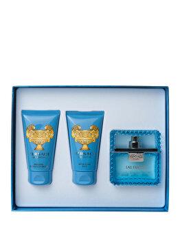 Set cadou Versace Man Eau Fraiche (Apa de toaleta 50 ml + Gel de dus 50 ml + After shave balsam 50 ml), pentru barbati de la Versace