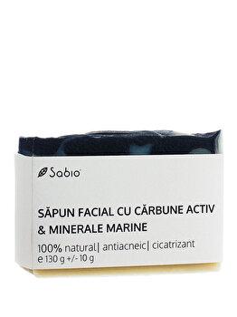 Sapun facial cu Carbune Activ & Minerale Marine, 130 g de la Sabio
