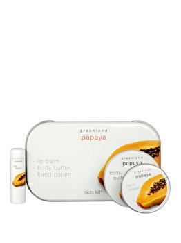 Set produse cu extract natural din Papaya (balsam de buze 3.9 g, crema de maini 50 ml si unt de corp 100 ml)