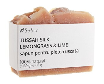 Sapun natural cu Tussah Silk, Lemongrass si Lime pentru piele uscata, 130 g de la Sabio