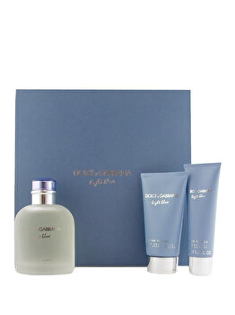 Set cadou Dolce & Gabbana Light Blue (Apa de toaleta 125 ml + After shave balsam 75 ml + Gel de dus 50 ml), pentru barbati de la Dolce & Gabbana