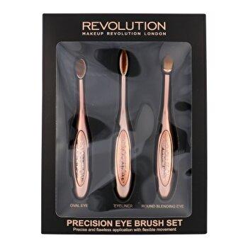 Set Precision Eye Brush Kit (Pensula cosmetice pentru umbre ochi 1 pc rotunda + Pensula cosmetice pentru umbre ochi 1 pc ovala + Eyeliner 1 pc), pentru femei de la Makeup Revolution London