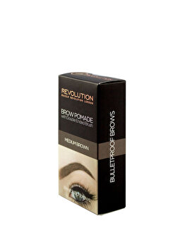 Crema pentru sprancene cu pensula cu doua capete, Medium Brown de la Makeup Revolution London
