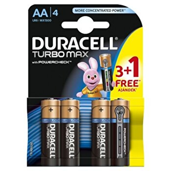 Baterie Duracell Turbo Max AA LR06 3+1 gratis