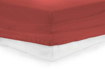 Cearceaf de pat cu elastic, Heinner, HR-ZSHEET-180RED, 180×200 cm, bumbac de la Heinner