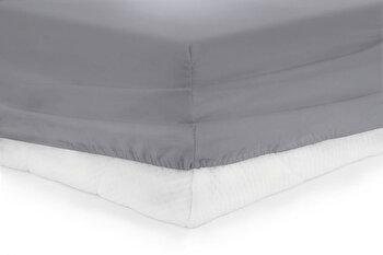 Cearceaf de pat cu elastic, Heinner, HR-ZSHEET-160GREY, 160×200 cm, bumbac de la Heinner
