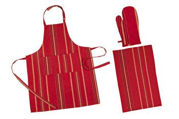 Set bucatarie 3 piese, Heinner, HR-KS3-RED01, 70 x 90 cm, bumbac, Rosu