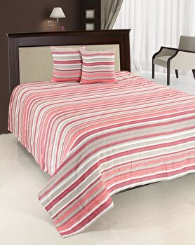 Set cuvertura de pat, dubla, Heinner, HR-CUV-220RED, bumbac