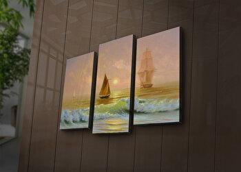 Tablou decorativ canvas cu leduri (3 Piese) Ledda, 254LED3235, Multicolor de la Ledda