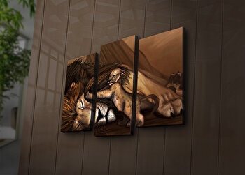 Tablou decorativ canvas cu leduri (3 Piese) Ledda, 254LED3248, Multicolor de la Ledda