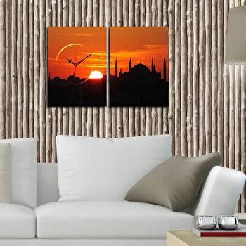 Tablou decorativ canvas cu ceas Clockity, 248CTY1654, Multicolor de la Clockity