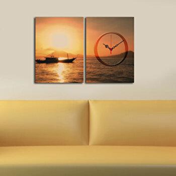 Tablou decorativ canvas cu ceas Clockity, 248CTY1655, Multicolor de la Clockity
