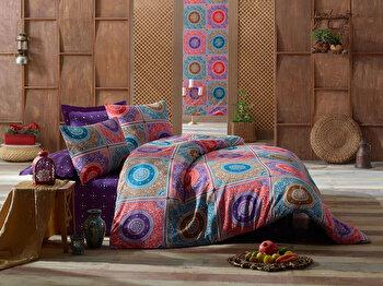 Lenjerie de pat dubla 200×220 cm, Eponj Home, 143EPJ1811, Multicolor de la Eponj Home