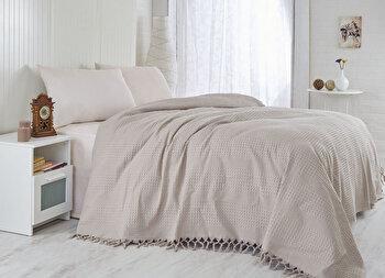 Cuvertura de pat, Saheser, 157SHS5202, 100 procente bumbac, 220×240 cm, Maro de la Saheser