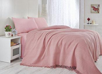 Cuvertura de pat, Saheser, 157SHS5210, 100 procente bumbac, 220×240 cm, Roz de la Saheser