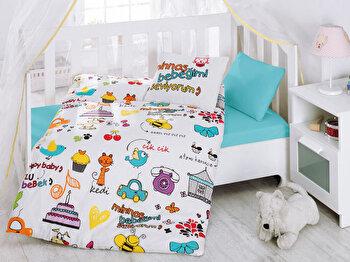 Lenjerie de pat pentru copii, Cotton Box, 129CTN2047, Multicolor