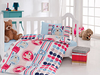 Lenjerie de pat pentru copii, Cotton Box, 129CTN2052, Multicolor de la Cotton Box