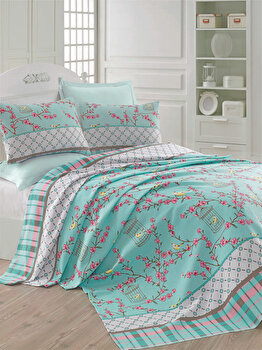 Cuvertura de pat, Eponj Home, 143EPJ5618, 100 procente bumbac, 200x235 cm, Multicolor