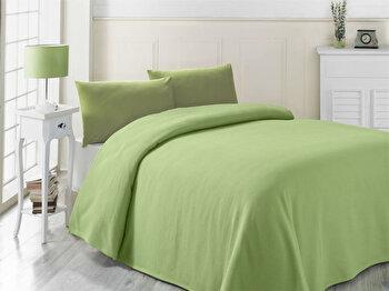 Cuvertura de pat, Victoria, 121VCT5240, 100 procente bumbac, 200x230 cm, Verde