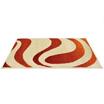 Covor Decorino Modern & Geometric C04-020105, Bej/Rosu/Portocaliu, 80×150 cm de la Decorino