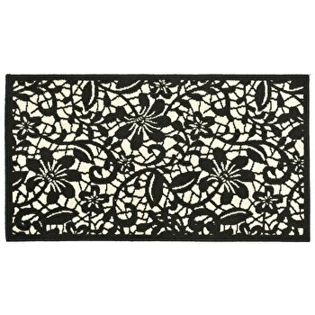 Covor Decorino Floral C04-020112, Negru/Alb, 80×150 cm de la Decorino
