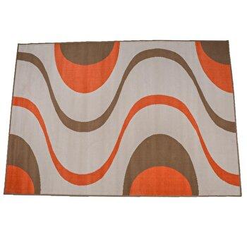 Covor Decorino Modern & Geometric C04-020128, Alb/Portocaliu/Maro, 80×150 cm de la Decorino